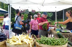 Happy Shoppers at the Durham Farmers' Market at the Churchill Rink lot in Jackson Landing